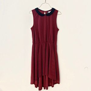 2/$30 Burgundy Maroon Peter Pan Collar Dress 8
